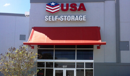 Entrance to USA Self Storage in Ft. Lauderdale, FL.
